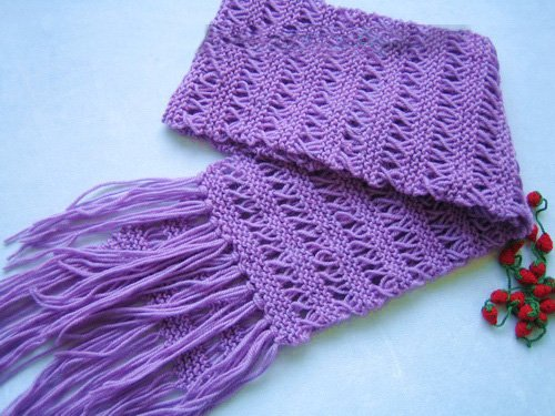Hand-knitted beautiful purple long scarf