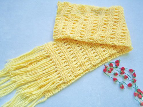 Hand-knitted beautiful yellow  long scarf
