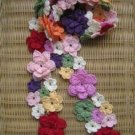 Beautiful Hand-crochetted multi-colour blossom flowers scarf