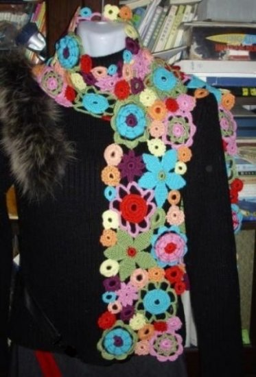 Beautiful Hand-crochetted multicolour rainbow   flowers scarf