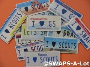 Mini YOUR State License Plates SWAPS Kit for Girl Kids Scout makes 25