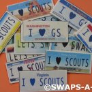 Mini YOUR State License Plates SWAPS Kit for Girl Kids Scout makes 50