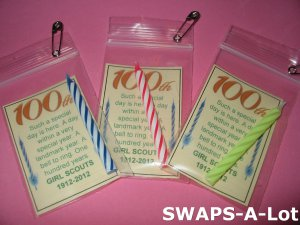 Mini 100th Anniversary 100 Years Candle Girl Scout SWAPS Kit makes 25