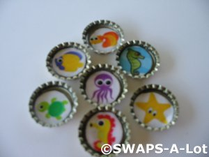 Mini Under the Sea-n-Bottle Caps SWAPS Kit for Girl Kids Scout makes 25