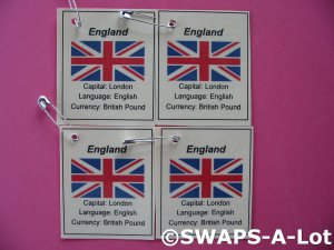 Mini England: Flag, Capital Thinking Day SWAPS Kit for Girl Kids Scout makes 25