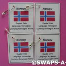 Mini Norway: Flag, Capital SWAPS Kit for Girl Kids Scout makes 25