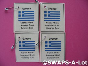 Mini Greece: Flag, Capital Thinking Day SWAPS Kit for Girl Kids Scout makes 25