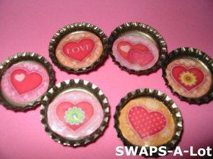 Mini Lovely Hearts-n-Bottle Caps SWAPS Kit for Girl Kids Scout makes 25