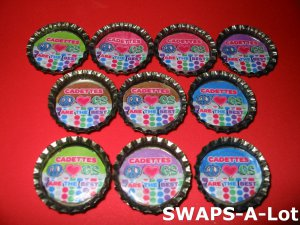 Mini Cadette GS Are The Best Bottle Caps SWAPS Kit for Girl Kids Scout makes 25