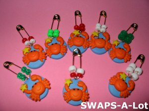 Mini Charming Crab Safety Pin Beads & Charms SWAPS Kit for Girl Kids Scout makes 24