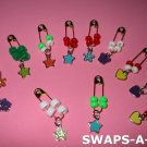 Mini Heart, Flower, Star, Butterfly Safety Pin Beads & Charms SWAPS Kit for Girl Kids Scout makes 24