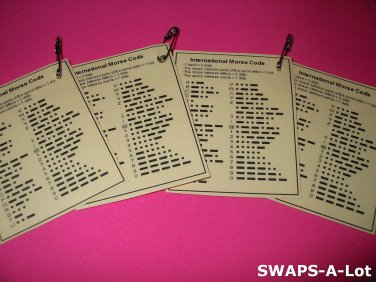 Mini Morse Code Index Laminated Trade Cards SWAPS Kit for Girl Kids Scout makes 25