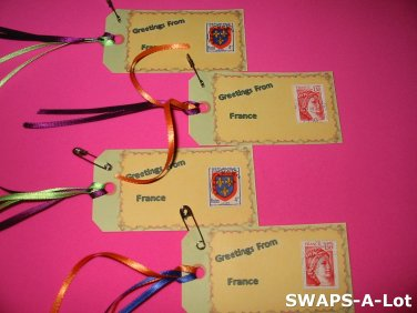 Mini Greetings From France Stamps Thinking Day SWAPS Kit for Girl Kids Scout makes 25