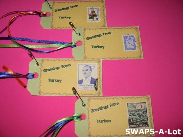 Mini Greetings From Turkey Stamps Thinking Day SWAPS Kit for Girl Kids Scout makes 25