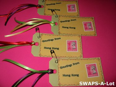 Mini Greetings From Hong Kong Stamps Thinking Day SWAPS Kit for Girl Kids Scout makes 25
