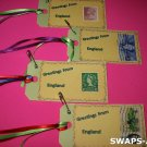 Mini Greetings From England Stamps Thinking Day Girl Scout SWAPS Kids Craft Kit makes 25