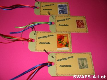 Mini Greetings From Australia Stamps Thinking Day Girl Scout SWAPS Kids Craft Kit makes 25