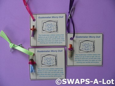 Tiny Guatemalan Worry Doll Card Guatemala Thinking Day Girl Scout SWAPS Kids Craft Kit makes 25