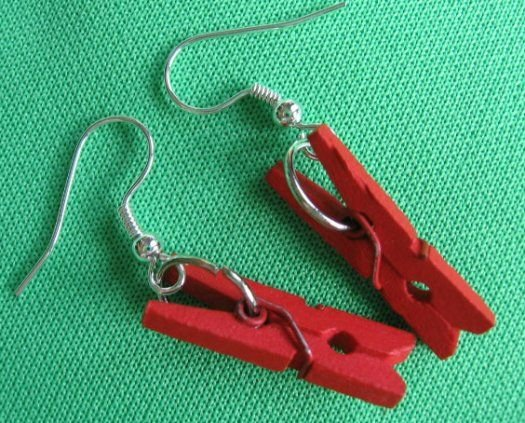 DIY PuNK GoTH MINI CLOTHESPIN earrings Scene OOAK emo