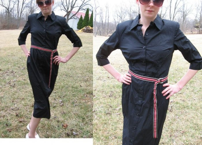 TALBOTS Long Summer SHIRT DRESS Buttons BLACK NWT NEW 4