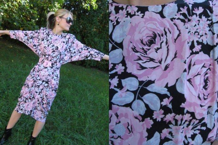 Vtg 80s RUCHED Batwing Dress SKINNY CUT Black Pink XS S