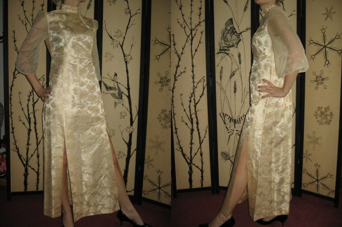vintage 70s MAXI DRESS ASiaN THIGH slit GOLD SheeR XS S