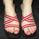 Ann Taylor WEDGE fabric sandals SHoes 8