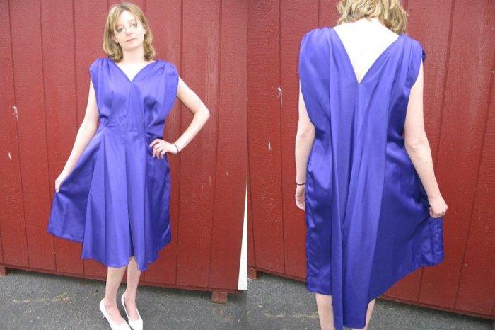 FAB vintage 60s REGAL PURPLE SaTiN COCKTAIL dress M/L