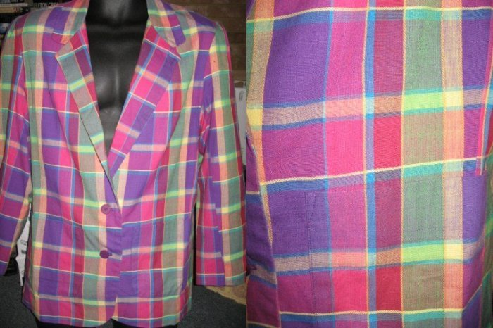 FAB PLAID Summer Blazer VIBRANT sz 10 ladies jacket