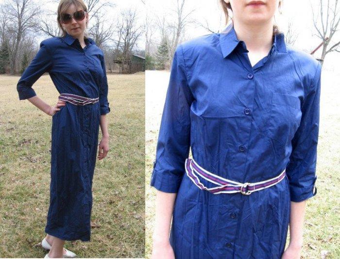 TALBOTS Long Summer SHIRT DRESS Buttons BLUE NWT NEW 8