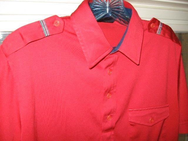 Mens Vintage RED PuNK shirt EPuLeTS emo indie 80's M