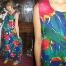 Vintage LONG TULIP SUN DReSS flary Bright Bold XS/S