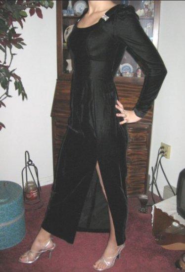 vintage BLACK VELVET Party Dress Rhinestones SKINNY XS