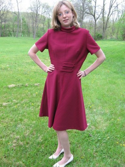 Vintage WINE Dress Mod Space Age Hippie 60s M/L