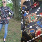 Vintage LIQUID SILK blouse TUNIC TOP Pearl Design XS S