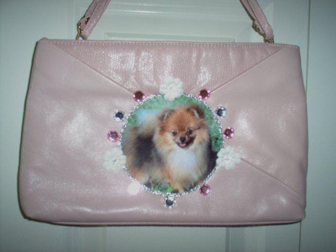 DIY Pink POMERANIAN Handbag Pocketbook Purse Clutch OOAK