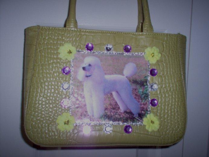 DIY White Poodle Handbag Lime Green Purse Clutch OOAK