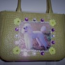 DIY White Poodle Handbag Lime Green Purse Clutch OOAK