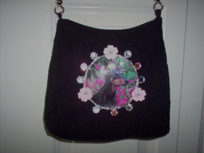 DIY Black Doberman Pinscher Handbag Purse Clutch OOAK