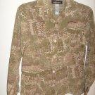 Sag Harbor Olive Green, Cream and brown print Long Sleeve Shirt (10)