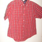 Boys Cherokee red/white plaid short sleeve shirt  S 6/7