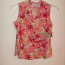 Womans Jaclyn Smith peach with flowers shirt (small)