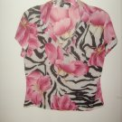 Womans J.T.B. pink flower/ with black print shirt (M)