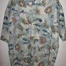 Mens CAMPIA short sleeve shirt w/palm trees,leaves and fish print (XL)