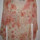 Womens New York City Design Co. Flower, peach and cream long sleeve shirt (L)