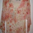 Womens New York City Design Co. Flower, peach and cream long sleeve shirt (L)