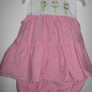 Girls Youngland 2 pc. Dress, white top & pink ,white checkered w/ bloomers(0-3 Mos)