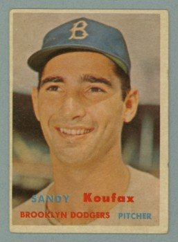 1957 Topps # 302 Sandy Koufax DP Dodgers HOF VG - EX