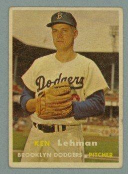 1957 Topps # 366 KEN LEHMAN Dodgers VG