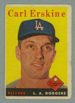 1958 Topps # 258 CARL ERSKINE Dodgers VG